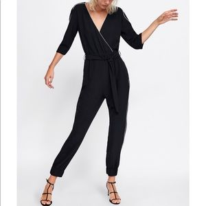 Zara jumpsuit with contrasting pipping